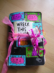 Wreck this journal day 46 .... Now with parcel decoration! (kittypinkstars) Tags: cats this is secret journal like smith it cover what looks keri parcel wreck far doodled