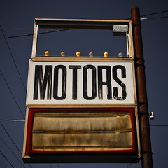 Motors (shiphome) Tags: abandoned vintage lightbulbs dirty motors worn vacantlot oldsign ushighway70 marionnc