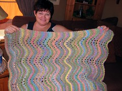 Chris with the finished blanket