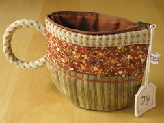 TeaCup pouch 78 (PatchworkPottery) Tags: bag tea handmade sewing crafts country fabric purse pouch quilted patchwork teacup wristlet