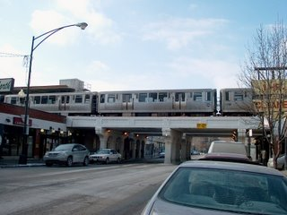 Northbound CTA Purple Line train at the Granville Avenue station. Chicago Illinois. January 2007.
