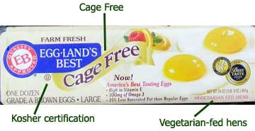 Labels on egg carton - including cage free, vegetarian, and kosher