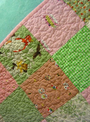 Pinks & Green Squares - detail