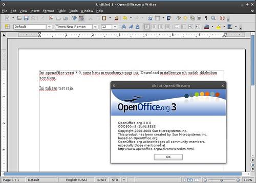 OpenOffice 3.0 di Ubuntu Hardy