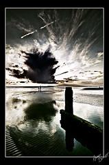 bracklesham bay 3 (Aaron_Bennett) Tags: uk family autumn sunset sea england sky brown sun color colour art beach water bronze clouds landscape fun photography bay sand nikon rocks colours stones footprints sigma 1020mm hdr textured chichester lightroom d300 cs3 photomatix bracklesham tonemapped aaronbennett omot clevercreativecaptures