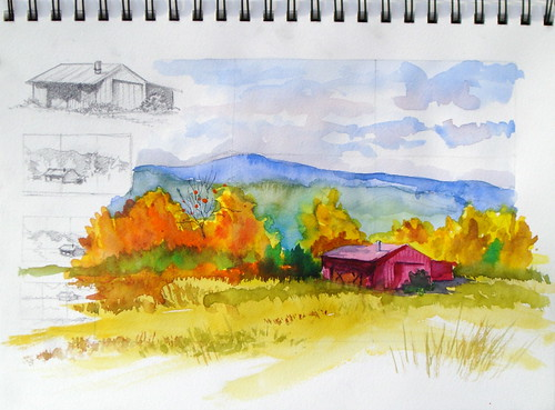 Watercolor Sketch - Colorado Barn