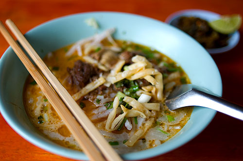 A bowl of pa pa soi, khao soi served with noodles made from brown rice, Khao Soi Islam, Mae Sai, Chiang Rai, Thailand
