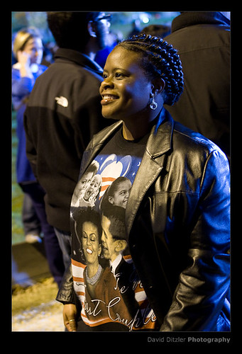 Obama Fan on Election Night in Grant Park, Chicago