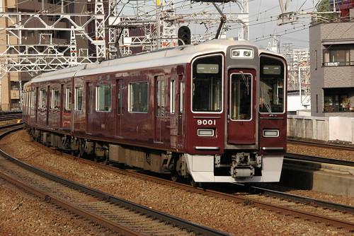 Hankyu9000series in Nakatsu,Osaka,Osaka,Japan 2008/11/22