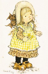 sarah kay card (lorryx3) Tags: flowers girl yellow apron littlegirl bonnet hollyhobbie sarahkay