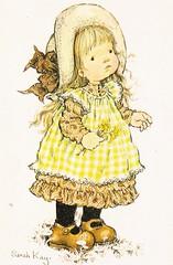 sarah kay card (lorryx3) Tags: flowers girl yellow apron littlegirl bonnet hollyhobbie sarahkay