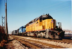 Southbound Union Pacific freight train. Alsip Illinois. November 1989.