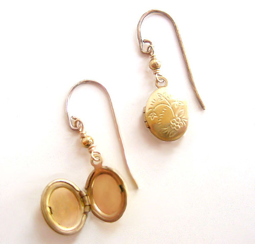 TIny Locket Earrings  -  Ginger Lily Designs