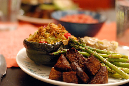 Maple-balsamic tempeh, stuffed squash, mashed potatoes with gravy, and broiled asparagus.