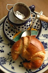 (5) St Roger Abbey croissant and tea (Jen's Photography) Tags: strogerabbeypatisserie tea food edible brown talavera dishes blue breakfast bread roll french stilllife jensphotography nikon d70s harvard illinois november 2008 winter fall cold croissant onlythebestare algonquinillinois chicago church thrift thriftstore garagesale yardsale fleamarket secondhand bigstock stockphotography chicagophotography chicagoillinoisphotography object kitchen