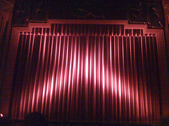 Closed red curtain at the Coolidge Corner Thea...