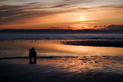 Picture of a man (taking a picture of the sunset) at sunset (jenny - blinkclick) Tags: uk sunset sea england sun reflection beach wet birds clouds sand place jennifer gulls jenny another crosby squatting merseyside mannion fpg voodoopiles wwwjennifermannioncouk