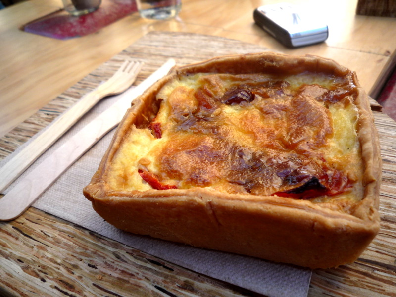 Pork, caramelised onion, capsicum and marmalade quiche