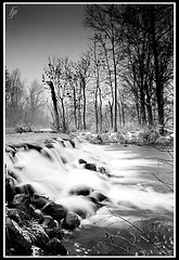 flow (fensterbme) Tags: longexposure blackandwhite bw waterfall interestingness personal indiana slowshutter bonneyvillemill 50d i500 interestingness307 canonllens canon1635mm ultrawidelens elkhartcounty fenstermacherphotography canon1635mmf28lmkii explore05dec08