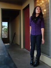 Echo Park (LuisAHHH!) Tags: california black fashion wardroberemix vintage losangeles veil purple boots top clothes plaid echopark wr buttonup thrifted skinnyjeans