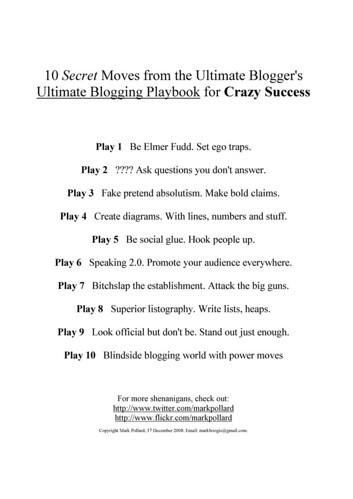 10 Secret Moves from the Ultimate Blogger's Ultimate Blogging Playbook for Crazy Success by mark-pollard