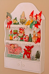 Shelflings (boopsie.daisy) Tags: christmas decorations boy red tree cute japan vintage pose mouse gnome holidays doll kitsch deer fawn ornaments presents drummer pixies decor sleigh shelves nook elves poseable pinecomb