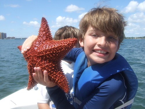 Matthew with cushion starfish