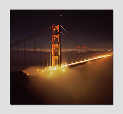 Cinnamon Glow (RZ68) Tags: sanfrancisco california city bridge light tower film fog skyline night mediumformat golden bay amber gate san francisco long exposure background low north under battery foggy velvia goldengatebridge goldengate 6x7 spencer provia sodium vapor ggb e100 rz68