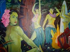 Planet Tiki (Detail) (Lino M) Tags: seattle art painting hawaii dancing space hula retro planet scifi tropical rocket tiki martins lino pulpcover atomicage planettiki