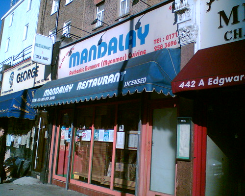 Mandalay Restaurant's shopfront