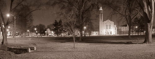 Francis Park, in Saint Louis, Missouri, USA - Saint Gabriel Archangel Church at night