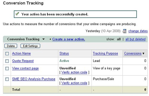 Google AdWords Conversion Tracking Page