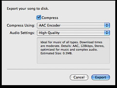 Default Garageband export options