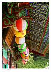 Maisan Temple Roof (Evert Lancel) Tags: roof temple buddhism korea colourful ornamentation lantarn maisan budhhist olympusc8080widezoom geometricalshapes lantarns chineselantarn koreanlantarn
