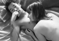 kev and nancy (petetaylor) Tags: bw male female neck nude grey back bed couple kevin nipple chest sheets pillow nancy tatoo shoulder 1870 d80