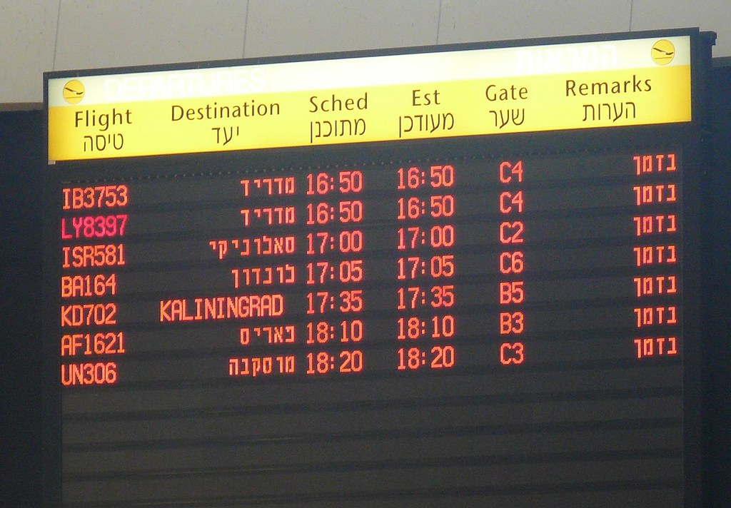 Flight departures board at TLV Terminal 3 showing flight to Kaliningrad