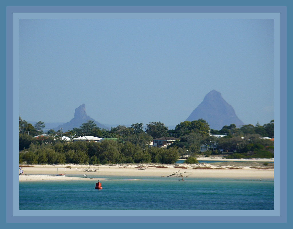 Glasshouse Mountains can be seen from Caloundra