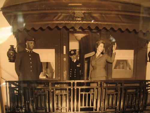 Princess (later Queen) Elizabeth on a Canadian rail car