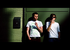 Kev and Jonny (TGKW) Tags: portrait people sunlight men boys sunglasses wall evening kevin glasgow cigarette smoking jonny kev leaning