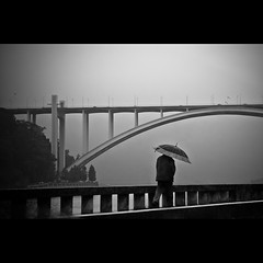 it was raining (3) (trazmumbalde) Tags: street bridge people bw portugal rain weather umbrella river landscape arquitectura pessoas europe pb porto douro inthecar rua pontes arrabida cy2 challengeyouwinner youvsthebest thepinnaclehof