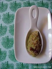 Un piatto per Terra Madre:riso rosso Andasibe del Madagascar crema di zucchine e bottarga