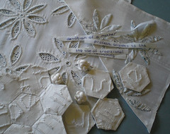 this weeks progress (contemporary embroidery) Tags: text silk tape hexagons patchwork applique cutwork