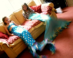 Indoor mermaids: thanks for 16,000 views (photocillin) Tags: blue girls light sun motion cute kids real movement warm play natural tail dry indoor h2o sofa human mermaids mermaid ycc familyuk photocillin gettyfamily2010 gettyvacation2010