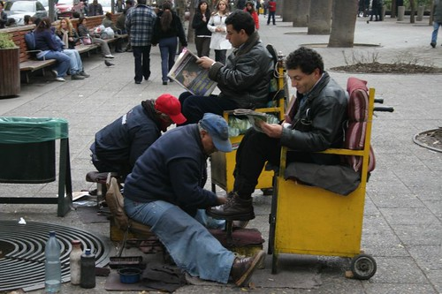 Shoeshine men in Santiago, Chile.