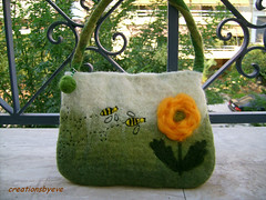 wasps bag (1) (creationsbyeve) Tags: flower bag felting handmade felt greece wasps
