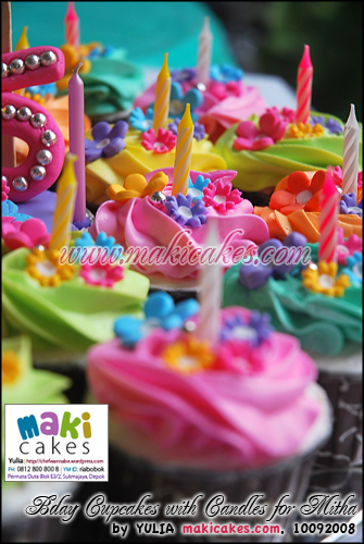 Bday Cupcakes with Candles for Mitha_ - Maki Cakes