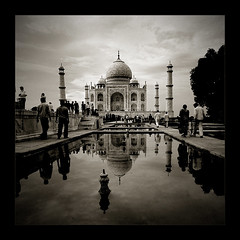 Taj Mahal (6) (Thamer Al-Tassan) Tags: india reflection architecture asia minaret muslim islam taj mahal tajmahal agra landmark mosque islamic sigma1020 450d   epiceditsselection featuredonadidapcom