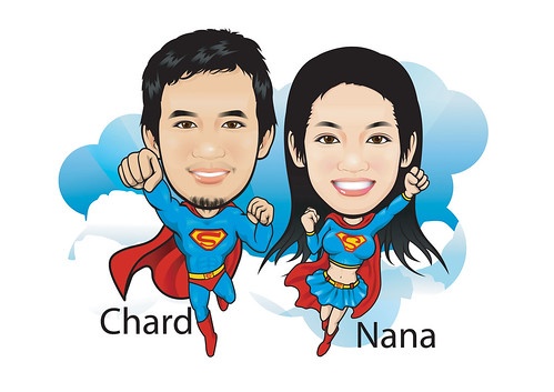 Caricatures of Superman & Supergirl