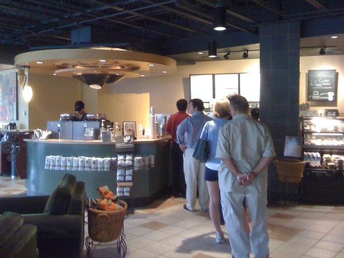 Waiting in line at Starbucks in Bethesda - Taken With An iPhone