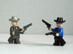 Standoff! (Dunechaser) Tags: lego navy prototype weapon pistol western accessories sheriff minifig minifigs revolver custom wildwest colt weapons outlaw prototypes accessory 1861 brickarms
